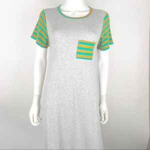 LulaRoe XS Carly Hi High Low Dress Striped Trim